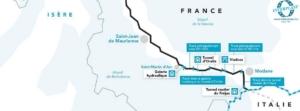 Plan du chantier d'interconnexion France-Italie