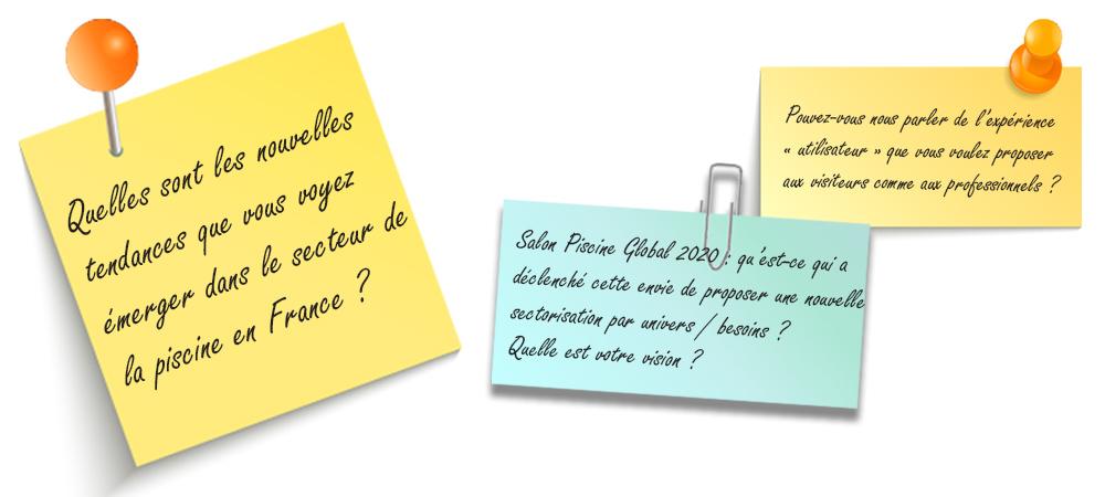 Image d'illustration Post-it reprenant la question : Qu'elles sont les nouvelles tendances que vous voyez émerger dans le secteur de la piscine en France ?