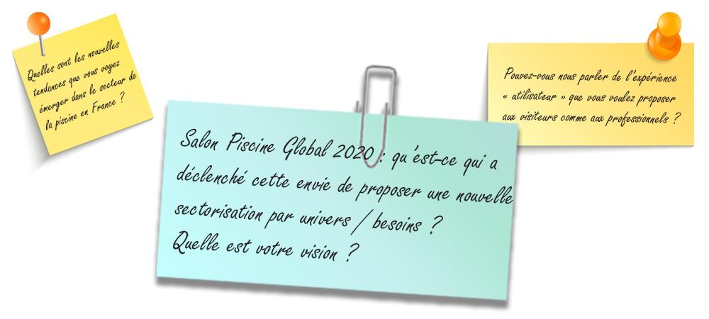 Image d'illustration Post-it reprenant la question : Quel est le déclencheur de la nouvelle sectorisation que vous proposez pour le salon Piscine Global 2020 ?