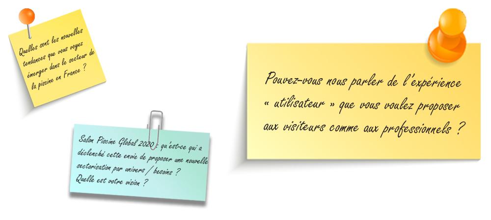 """Image d'illustration Post-it reprenant la question : Pouvez-vous nous parler de l'expérience """"utilisateur"""" que vous voulez proposer aux visiteurs comme aux professionnels ?"""