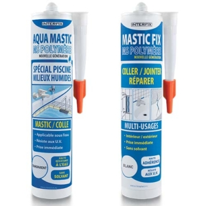 Photo Cartouches Aqua Mastic et Mastic Fix MS Polymère 290 ML - Interplast