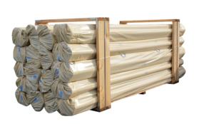 Photo de palette de profils de gouttières PVC sable