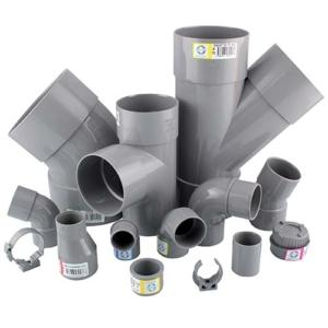 Photo de Raccords PVC évacuation gris avec étiquette Interplast