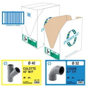 Image marquage carton pour raccords PVC évacuation