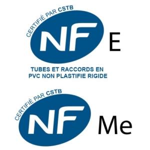 Logos des normes NF E et NF Me pour Raccords_PVC_evacuation_