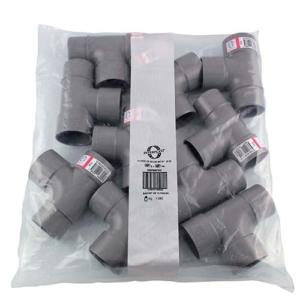 Photo sachet par 10 de raccords PVC évacuation gris avec étiquette Interplast