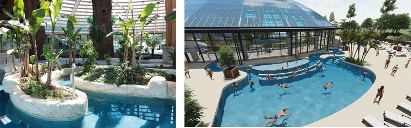 Plan et projection en 3D du projet de piscine domaine des Ormes