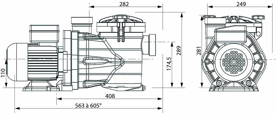 Dimensions pompes auto-amorçantes MJB